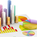 3D bar chart and pie chart sit atop papers with various graph illustrations.