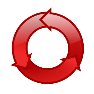 Three connected arrows create a continuous circle