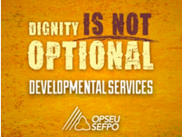 "OPSEU ""Dignity is not optional"" campaign logo"