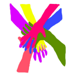 Albertans Advocating for Change Together's logo, which features multicoloured hands stacked on top of one another